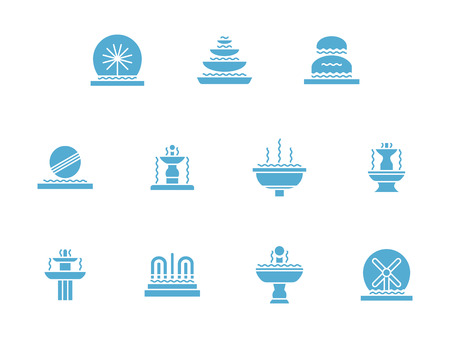 landscape architecture: Decorative fountains. Combination of moving water with architecture and sculpture. Landscape art. Small architectural forms. Set of symbolic blue glyph vector icons. Element for web design and mobile.