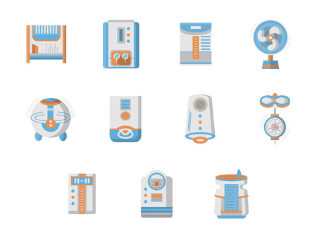 purification: Home climate equipment and technics. Air conditioning and purification. Home climate system devices. Set of flat design colored vector icons. Web design elements for mobile app, site or business.