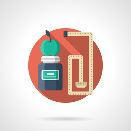 dieting: Jar with vitamins or supplements, green apple and measuring tape. Fitness and dieting. Healthy lifestyle. Round single detail flat color vector icon. Web design element for business, site, mobile app. Illustration
