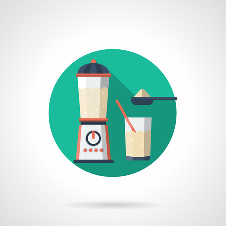 sports app: Preparing a protein or whey cocktail. Sports nutrition. Bodybuilding and fitness supplement. Protein food. Round detailed flat color vector icon. Web design element for business, site, mobile app.