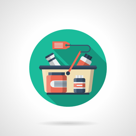 purchasing power: Cart with sport supplements jars and red price tag. Sports nutrition shop. Healthy and active lifestyle. Round detailed flat color vector icon. Web design elements for business, site, mobile app.