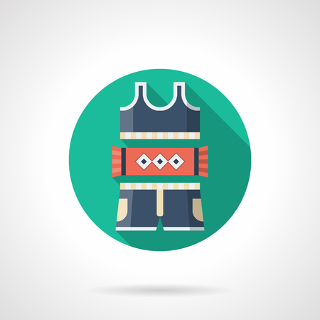 sports app: Sports and fitness elements of clothes. Women sport underwear. Blue suit with bra and shorts and red towel. Round detailed flat color vector icon. Web design elements for business, site, mobile app. Illustration