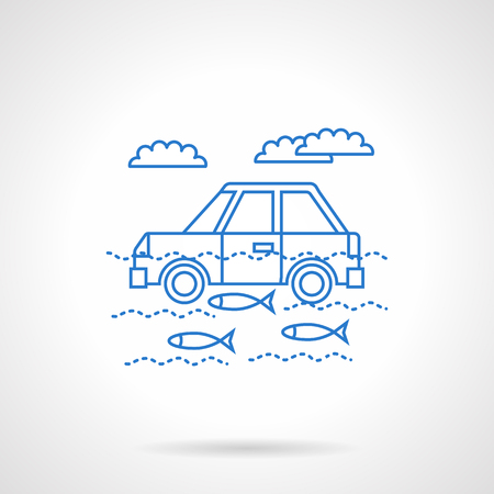 wade: Landscape with automobile in river with fish and clouds above them. Car insurance from disasters. Flat blue line style vector icon. Single design element for website, business.
