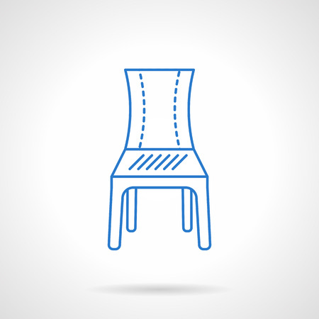 porch chair: Classic chair with a back front view. Furniture for home, restaurant, hotel or office. Flat blue line style vector icon. Single design element for website, business. Illustration