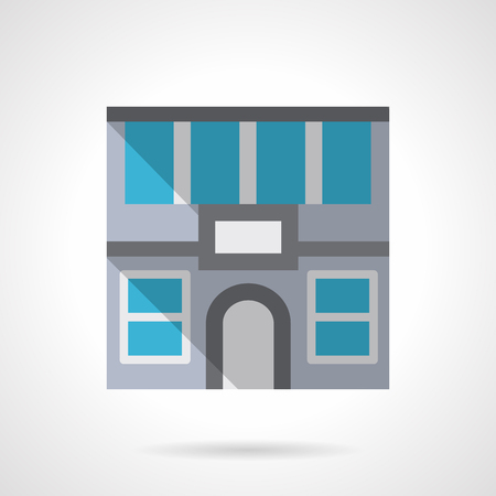 commercial real estate: Facade of house with arched door. Rent of office space. Commercial buildings. Real estate agency. Flat color style vector icon. Web design element for site, mobile and business.