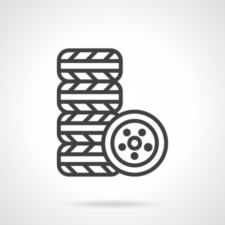 vulcanization: Stack of tires for car. Automobile repair services. Vulcanization workshop. Simple black line vector icon. Single element for web design, mobile app. Illustration