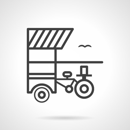 promenade: Drinks sale with a bicycle shed. Trade on the beach. Food trolley. Simple black line vector icon. Single element for web design, mobile app.