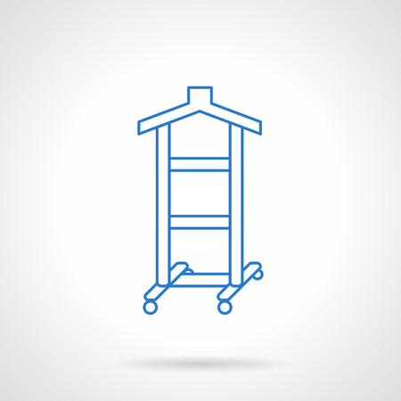 laundry line: Clothes hanger with wheels. Equipment for hanging dresses, shirt and pants for shop, fashion show, home wardrobe. Laundry equipment. Flat line vector icon. Single design element for website, business.