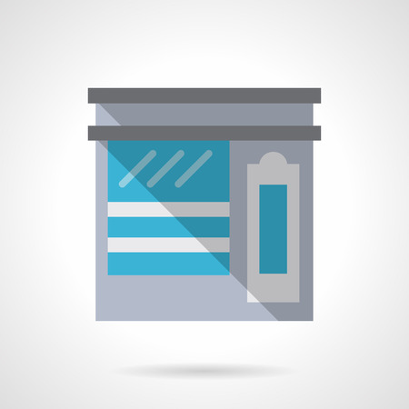 Shop with showcase. Sale of tea. Street marketing. Commercial architecture and buildings. Storefronts and showcases. Flat color style vector icon. Web design element for site, mobile and business.
