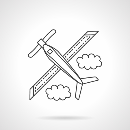 air show: Plane with frontal propeller and clouds. Aviation, aircraft and air show. Unmanned aerial vehicles. Flat line style vector icon. Single design element for website, business. Illustration