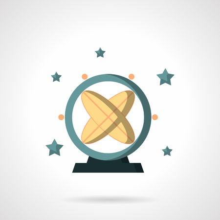 pendulum: Round astronomical pendulum and stars. Space research and technology. Education and science. Flat color style vector icon. Web design element for site, mobile and business.