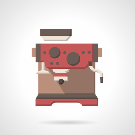 office appliances: Red automatic coffee making machine. Kitchen appliances for home, cafe and office situations. Flat color style vector icon. Web design element for site, mobile and business.
