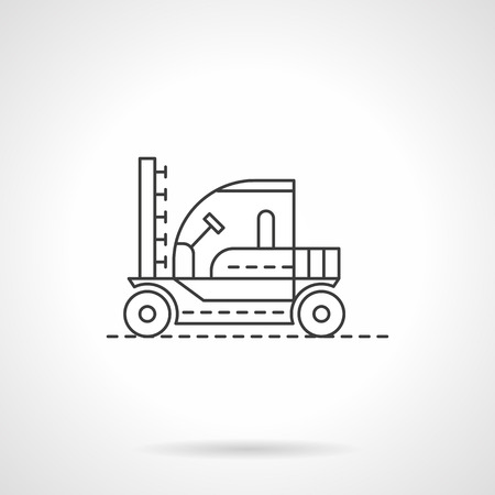 combines: Agricultural machinery. Tractors and combines. Machine for sprinkling. Field works. Flat line style vector icon. Single design element for website, business. Illustration