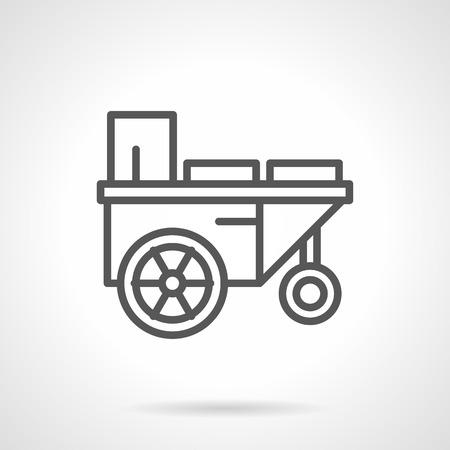 agricultural machinery: Farming and agricultural machinery. Trailer with water. Simple black line vector icon. Single element for web design, mobile app.