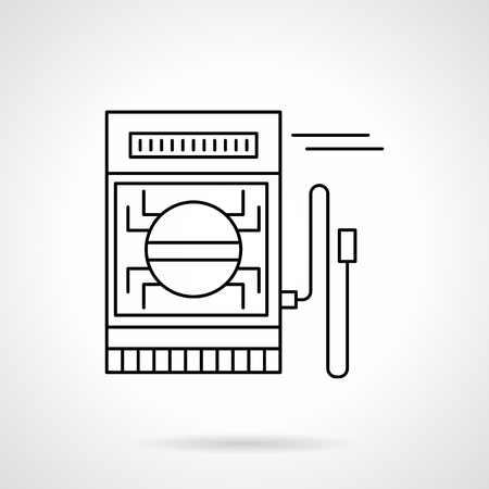 metrology: Measuring equipment, tool and devices. Electrical measuring instrument. Metrology. Flat line style vector icon. Single design element for website, business.