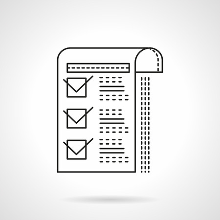 checkboxes: Paper sheet with marked checkboxes. Management documents. Flat line style vector icon. Single design element for website, business.