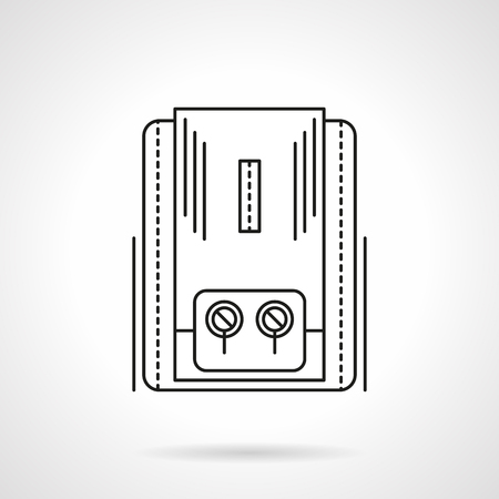 boiling water: Gas or electrical heater appliance with two switches for home climate regulation. Water boiling. Flat line style vector icon. Single design element for website, business.