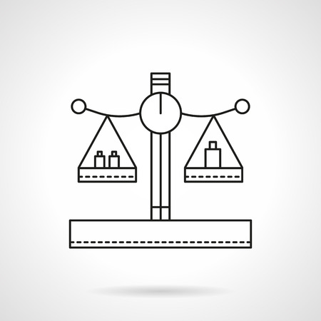 metrology: Balance or scales with weights on cups. Mass measuring. Flat line style vector icon. Single design element for website, business. Illustration