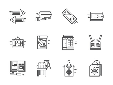 commission: Online shopping elements. Internet commission store, second hand. Set of black simple line design icons. Web design elements for mobile app, site or business.
