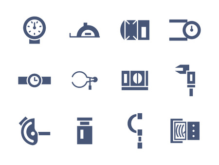 metrology: Metro logy devices and instruments. Measuring equipment. Precision and accuracy. Set of simple blue glyph style icons. Web design elements for mobile app, site or business.