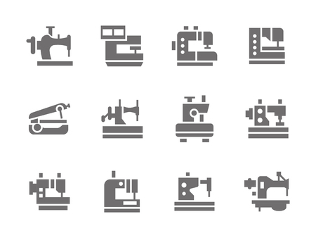 dressmaking: Sewing tools and equipment. Sewing machines. Dressmaking industry. Equipment for workshop and hobby.  Set of simple gray glyph style icons. Web design elements for mobile app, site or business.
