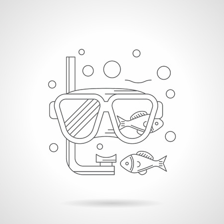 underwater sport: Diving mask with snorkel, fishes and bubbles. Sea recreation. Equipment and accessories for underwater sport. Single detailed flat line icon. Web design elements for business, site, mobile app. Illustration