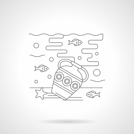 seabed: Underwater world with a treasures. Seabed with antique amphora and fishes. Sea recreation and diving. Single detailed flat line style icon. Web design elements for business, site, mobile app. Illustration