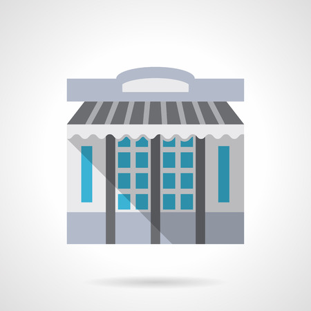 storefronts: Storefronts and showcases theme. Stationery store facade with awning or shade. Commercial buildings. Flat color style vector icon. Web design element for site, mobile and business. Illustration