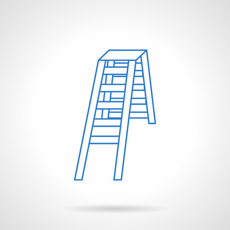 worksite: Equipment for household or construction. Double folding ladder. Flat blue line style vector icon. Single design element for website, business.