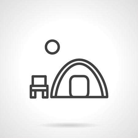 hike: Symbol of outdoors rest. Hike, fishing, tourism. Overnight camping. Tent, chair and moon. Simple black line vector icon. Single element for web design, mobile app. Illustration