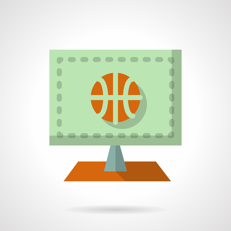 online game: Abstract green computer screen with orange basketball ball. Online game. Basketball tournament. Flat color style vector icon. Web design element for site, mobile and business. Illustration