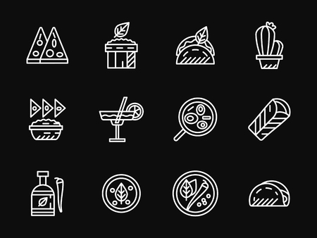 simple meal: Restaurant with mexican cuisine. Traditional meal. Mexican food. Set of white simple line vector icons on black background. Web design elements for site, business, mobile app. Illustration