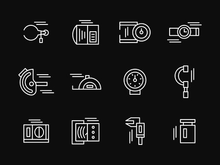 precision: Tools and devices for measurements and precision control. Metrology instrument. Set of white simple line vector icons on black background. Web design elements for site, business, mobile app.