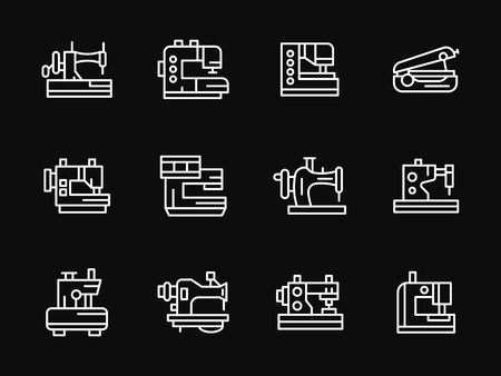 sewing machines: Industrial and household sewing machines and overlock. Equipment for atelier, fashion industry, hobby. Set of white line vector icons on black. Web design elements for site, business, mobile app.