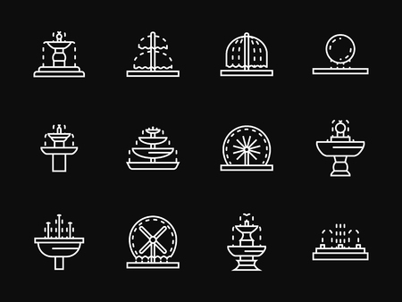 garden fountain: Small gardens and parks architecture elements. Decorative outdoors and interior fountains. Set of white simple line vector icons on black background. Web design element for site, business, mobile app.