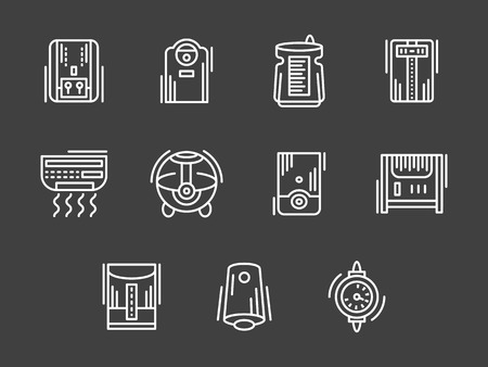 acclimatization: Appliances and equipment for regulation of house climate. Air conditioners, heating, purification. Set of white simple line vector icons on black. Web design elements for site, business, mobile app. Illustration