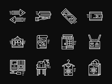 simple store: Shopping and e-commerce symbols. Online shopping. Store elements. Set of white simple line vector icons on black background. Web design elements for site, business, mobile app.