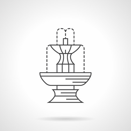 water flowing: Decorative fountain with water flowing for park, garden. Small architecture. Flat line style vector icon. Single design element for website, business. Illustration