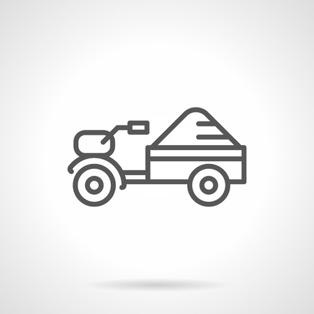 agriculture machinery: Small motor tractor with trailer with crop. Farming machinery. Agriculture equipment. Simple black line vector icon. Single element for web design, mobile app. Illustration