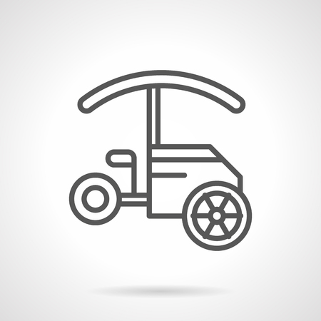seacoast: Street food trade. Objects for sale fast food and drinks on festivals, parks, seacoast. Tricycle trolley with awning. Simple black line vector icon. Single element for web design, mobile app.