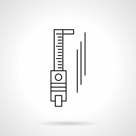 millimetre: Abstract sign of sliding calliper or trammel. Measurement tools and devices. Metrology object. Flat line style vector icon. Single design element for website, business.