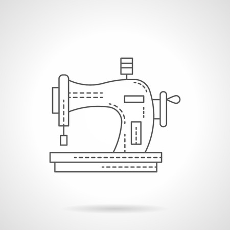 dressmaking: Sewing equipment for hobbies. Manual old style sewing machine. Dressmaking and embroidery. Flat line style vector icon. Single design element for website, business.
