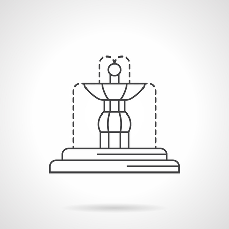 fountains: Fountains decoration for interior and exterior. Decorative and functional architecture and sculptures. Flat line style vector icon. Single design element for website, business.