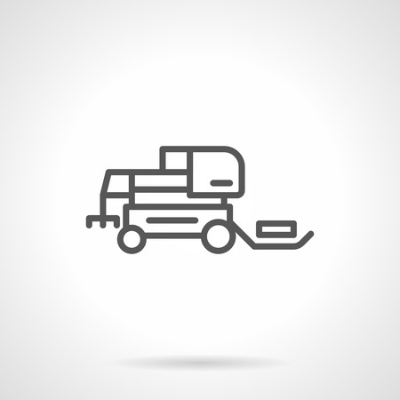 agricultural machinery: Agricultural machinery. Hay loader tractor. Farming tractors and combines. Simple black line vector icon. Single element for web design, mobile app.