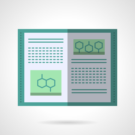 biology instruction: Open book with abstract text and organic molecules. Molecular biology textbook. Education and science. Flat color style vector icon. Web design element for site, mobile and business.