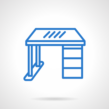 front desk: Furniture for home, office, workplace or school. Work desk, table with drawer a front view. Simple blue line vector icon. Single element for web design, mobile app.