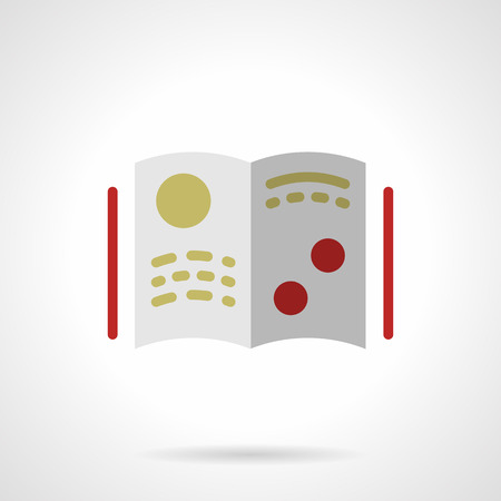 scientific literature: Open book or magazine with yellow and red elements. Scientific literature and publications. Education and science.  Flat color style vector icon. Web design element for site, mobile and business.
