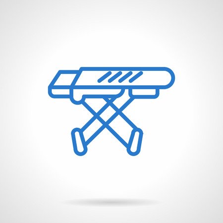 laundry line: Equipment for household laundry. Empty folding ironing board.  Simple blue line vector icon. Single element for web design, mobile app.