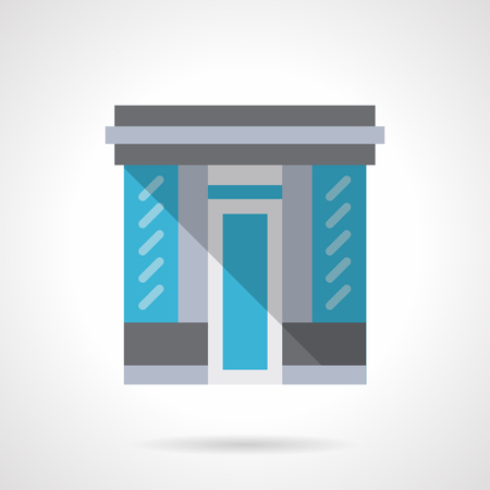 glass doors: Facade of store with glass wall and doors. Storefront and showcases. Commercial architecture.  Flat color style vector icon. Web design element for site, mobile and business. Illustration