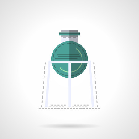 laboratory labware: Rack with green flask bulb. Medical labware. Laboratory equipment and glass. Education and science. Chemistry research. Flat color style vector icon. Web design element for site, mobile and business. Illustration